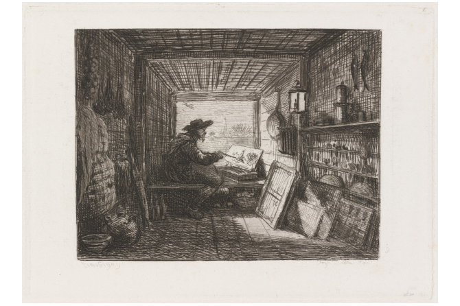 etching of man painting whilst looking out a boat window
