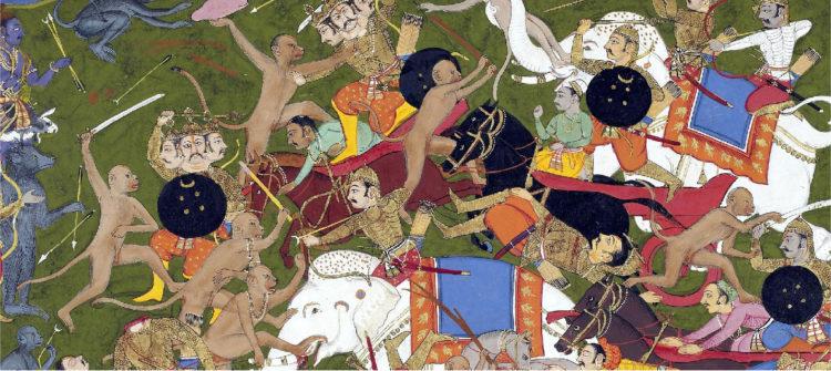 War elephants used in battle