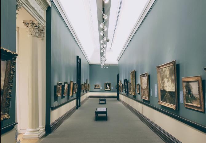 Gallery hall displaying artworks