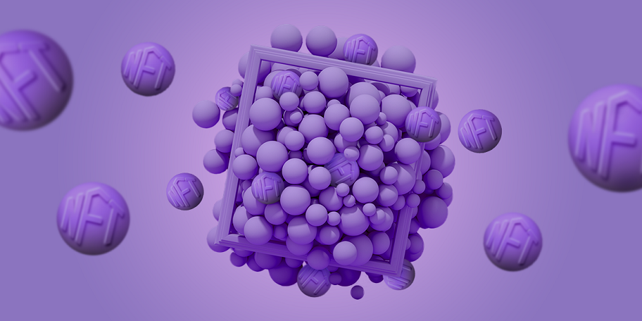 Digital image of frame with nft bubbles inside
